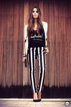 Vertical stripe pants make you look taller!