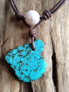Turquoise and South Sea Pearl and Leather Necklace on Etsy, $75.00