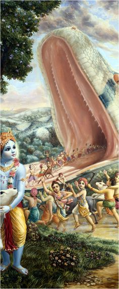 Ch.12: Aghasura desired to kill Krishna because Krishna had killed his sister Putana, and his brother Bakasura, and he wanted revenge. When he opened his mouth, the top part was in the sky, and the bottom part was on the ground. Aghasura tried to crush Krishna and the cowherd boys with his digestive powers, but with all his strength, he couldn't fight against Krishna's expanding. Finally when he could breathe no more, Aghasura's life air, along with his soul, exited through the top of his…