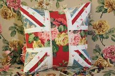 Vintage Home: Floral Union Jack theme cushion.