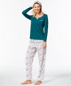 Nautica Flannel-Trimmed Gifting Pajama Set with Free Matching Headband - Tan/Beige XXL