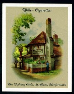Old Inns A Series, The Fighting Cocks, St Albans, Hertfordshire. Matchbox Art, Cigarette Box, St Albans, London Places, Retro Ads, Vintage Art, England, Ephemera, Britain