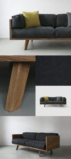 Diy Home : Illustration Description diy furniture I möbel selber bauen I couch sofa daybed I inspiration I NUTSANDWOODS – Oak Linen Sofa -Read More –
