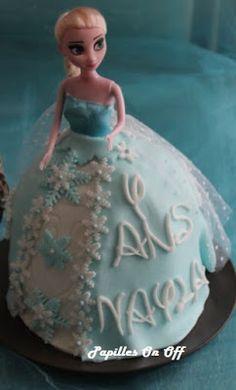 Papilles On/Off: Gâteau poupée Elsa / Reine des Neiges (gâteau vani...