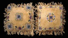 TWO PLAINS CREE METIS BEADED AND FRINGED HIDE PILLOWS