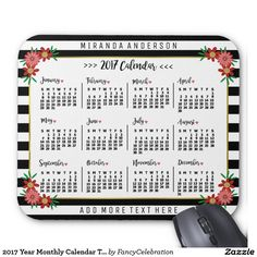 Beautiful 2017 Year Monthly Calendar Mousepad with Trendy Floral Stripes - Personalized with Your Name and More Custom Text :)