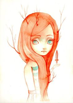 ania tomicka  watercolors and red pencil on paper