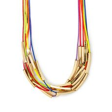 Rainbow Cord and Gold Tubes Multi-Strand Necklace