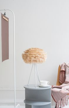 Create a balanced and calm pallette in your home with Earth colours like here with the light brown Eos on a Tripod table. Photo credit: @beatrice_de_franceschi  Eos, VITA copenhagen, lampshade, lamp, lighting, hygge, cosy, light, design, nordic home, nordic design, danish design, scandinavian design, Denmark, Scandinavia, Scandinavian Home, Urban Living, home decor, interior, Soren Ravn Christensen