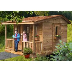 Outdoor Living Today Cozy Cabin Playhouse with 4 Functional Windows & Reviews | Wayfair