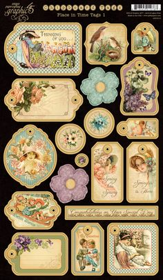 Graphic 45 - Place in Time Collection - Die Cut Chipboard Tags - One at Scrapbook.com $5.99   Wendy Schultz onto Products I Love!