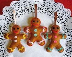 felt gingerbread men with colorful details