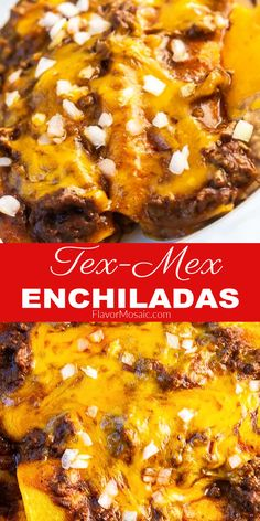 These Tex-Mex Cheese Enchiladas with Chili Con Carne are loaded with flavor and gooey cheddar cheese! If you love Mexican and Tex-Mex food, then you'll love these awesome cheese and beef enchiladas! Savoury Recipes, Lunch Recipes, Easy Dinner Recipes, Easy Recipes, Dinner Ideas, Best Beef Recipes, Grilling Recipes, Crockpot Recipes, Cheese Enchiladas