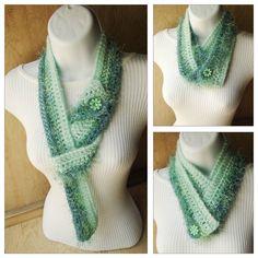 Fuzzy Crocheted Scarf  versatile button up scarf in par PrettyYummy, $32.00