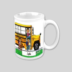 Personalized 11 oz Mug School Bus Driver by CartoonCityExpressio, $12.00