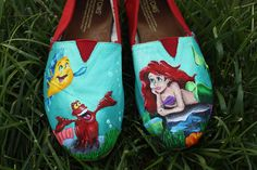 Disney Little Mermaid Original Custom Acrylic Painting for Toms Shoes. $65.00, via Etsy.