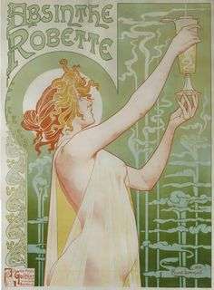 'ABSINTHE ROBETTE', LITHOGRAPH, LINEN-BACKED, FRAMED, BY HENRI PRIVAT LIVEMONT, PRINTED BY J. L. GOFFART, BRUSSELS, 1896
