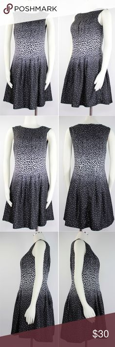 """Polka Dots Black Ivory Gradient Sheath Dress 654 Ann Taylor Women's Dress Sleeveless, Ballet Neck, Hidden Zipper with Eye Hook Back Closure, Lined, Fitted Pleated Bodice, Pleated Full Skirt, Hidden Hem, Lightweight Silky Fabric, Gradient Polka Dots Back Size: 4P 4 Petite Shoulder: 16"""" Armpit to Armpit: 18""""  Waist: 16"""" Length: 33"""" Condition: Good, has slight horizontal pull on right side of skirt, has a lot of life! Priced accordingly.  Color: Black Ivory Material: 100% Polyester Country…"""