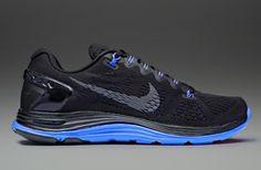 Nike Lunarglide+ 5 Black - Mens Running Shoes - Black-Dark Grey-Prize Blue