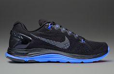 Nike Lunarglide+ 5 Black - Mens Running Shoes - Black-Dark Grey-Prize Blue