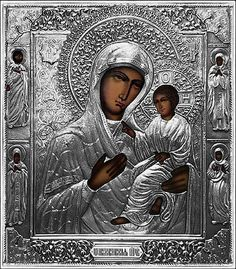 """Mother of God of Tichvin · #S19 Tichvin 12.3/8 x 14.1/8"""" 31.5x36cm. Silver Plated."""