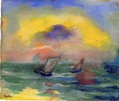 Green Sea with Two Sailboats Emil Nolde 1946-1947   Private collection	 Painting - watercolor  Height: 22.8 cm (8.98 in.), Width: 26.5 cm (10.43 in.)