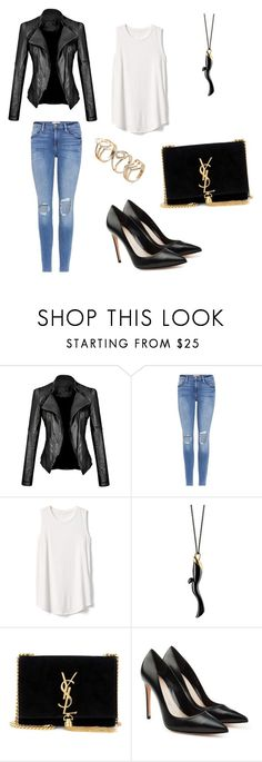 """Black back😎"" by alihorin on Polyvore featuring Frame, Gap, Monica Rich Kosann, Yves Saint Laurent and Alexander McQueen"