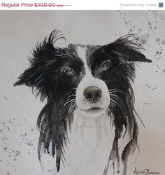 """ON SALE Border Collie, Original Watercolour Painting, Home decor, 14""""x10"""", Border Collie Painting, Black and White, Dog lover on Etsy, $90.00 AUD"""