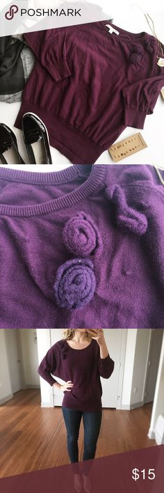 "- LAUREN CONRAD - Purple Sweater with Wool Flowers Comfy sweater with oversized top and fitted hips. Wear with leggings and boogies for a casual vibe or dress up with heels and skinny jeans! Good pre-loved condition, see small holes by appliqué wool flowers shown in 2nd photo. Approx. Measurements  Bust: 20.5"" Length: 25.5"" 🛍Bundle & Save 20% on 2+ items! 🙅🏼No trades / selling off of Posh.  ✨Offers always welcome!✨ LC Lauren Conrad Sweaters Crew & Scoop Necks"