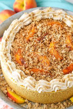 Peach Cheesecake, Homemade Cheesecake, Cheesecake Recipes, Dessert Recipes, Snickers Cheesecake, Cheesecake Brownies, Dessert Ideas, Peach Cake, Bourbon