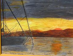 Original Oil Painting The rest area masted  on wood by MarikaArt