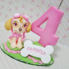 Velinha Sky Patrulha Canina  #biscuit #porcelanafria #artesanato #veladecorada #veladebiscuit #velaaniversario #topodebolo#patrulhacanina #velasky#velapatrulhacanina