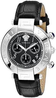 Versace Womens Q5C99D009 S009 New Reve Stainless Steel Watch with Black Leather Band ** More info could be found at the image url.