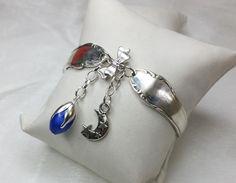 Nostalgische Silberarmband  mit blauer Perle AB315 von Atelier Regina  auf DaWanda.com