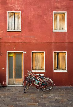 Bicycle and Red House, Caorle, Italy