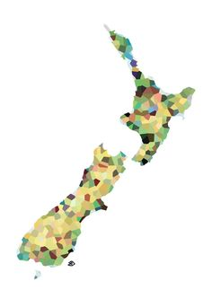 Map of New Zealand Art Print by Bleachydrew - X-Small