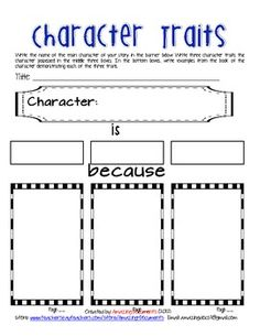 Character Trait Analysis for Guided Reading. could use as differentiation/modification as well by giving student choices to place in the boxes