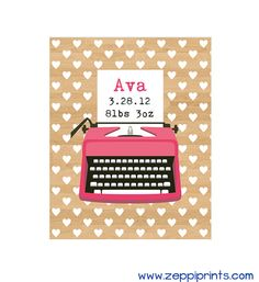 Birth Announcement Personalized Nursery Art Typewriter Typography Custom Colors Name Monogram -- Nora's room