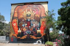 10 x 9 meters Latex and acrylic on wall Done in the Open Air Museum of San Miguel San Miguel, Santiago de Chile 2014