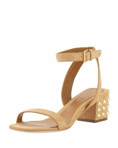 Studded-Heel Ankle-Wrap Sandal, Beige by Alexander McQueen: This is such a perfect everyday sandal!