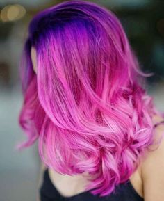 cheveux roses ombre rose violet #hairstyle