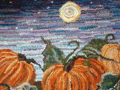 """Punkins"" hooked rug, by Jennifer Martinsons......amazing colors ...~♥~"