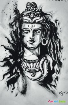 Art Charcol Art Of Lord Shiv Created by Sejal Verma: Cool Art India Indian Tattoo Design, Shiva Tattoo Design, Arm Tattoos, Forearm Tattoo Men, Shiva Art, Mahakal Shiva, Mahadev Tattoo, Lord Shiva Statue, Ganesha Tattoo