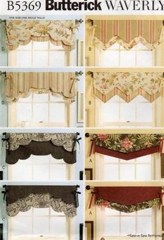and Easy Reversible Valances Butterick Sewing Pattern No. One Size Fast and Easy Reversible Valances Butterick Sewing Pattern No. One Size.Fast and Easy Reversible Valances Butterick Sewing Pattern No. One Size. No Sew Curtains, Curtains With Blinds, Window Curtains, Curtain Valances, Drapery, Sheer Valances, Window Coverings, Window Treatments, Valance Patterns