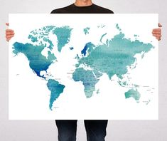 Aqua large travel world map digital printable map with watercolor world map art print poster countries names watercolor travel map world map pin trip gumiabroncs Images