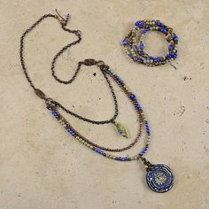Humblebeads Blue Poppy Pendants - Necklace and Bracelet by Designs in the Light