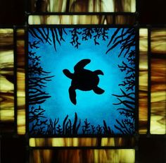 Deep Blue - Painted stained glass panel using reusche paint.