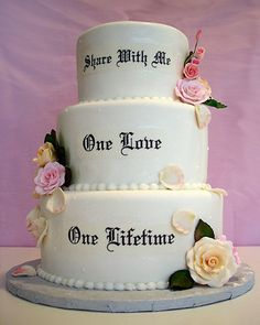 Phantom of the Opera wedding cake -love the idea of having this quote somewhere on the wedding cake, smaller of course!