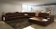 Polaris - Bonded Leather Sectional Sofa in Brown - Stylish Design Furniture