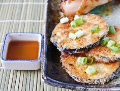 Peaches and Donuts: Panko crusted eggplant with Sesame Ponzu Sauce